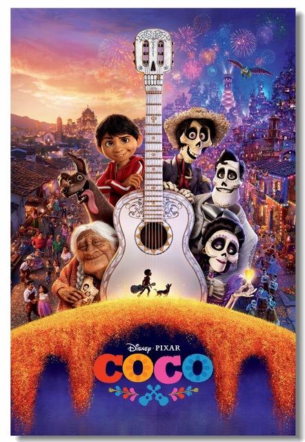 Custom Canvas Wall Decals Coco Poster Mexico Day Of The Dead Wallpaper Animation Stickers Kids
