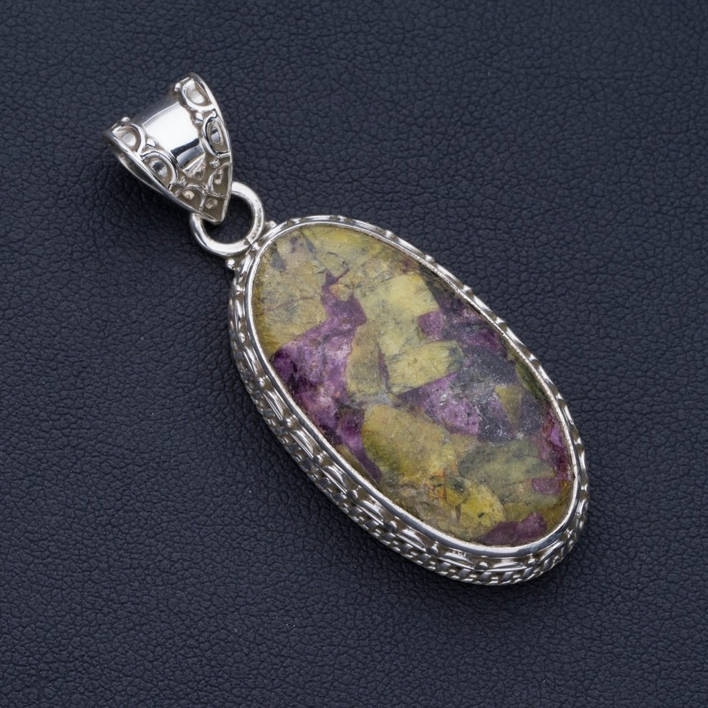 Natural Ruby Zoisite Punk Style 925 Sterling Silver Pendant 2 P0827Natural Ruby Zoisite Punk Style 925 Sterling Silver Pendant 2 P0827