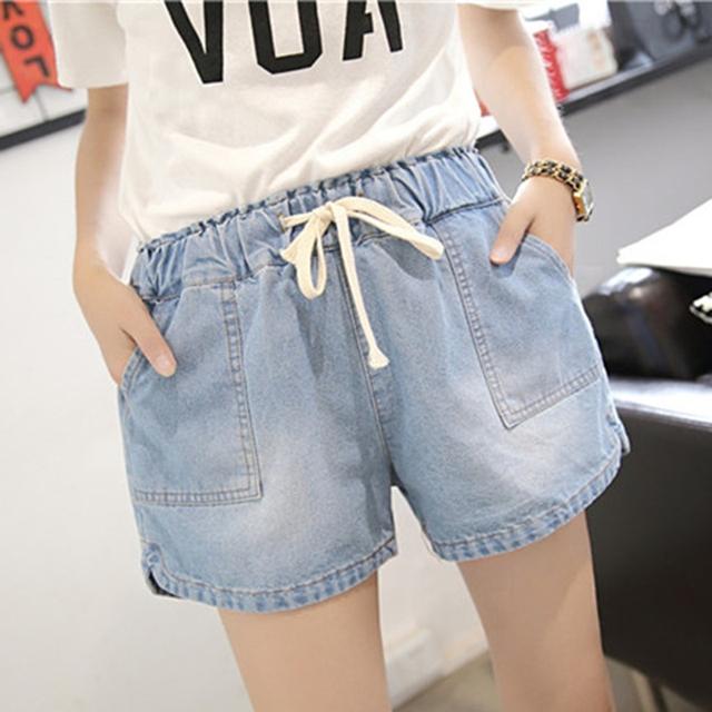 Las mujeres de Gran Tamaño Pantalones Cortos de Mezclilla Skinny Femenina de Corea Verano Casual PANTALONES CORTOS de CINTURA ELÁSTICA
