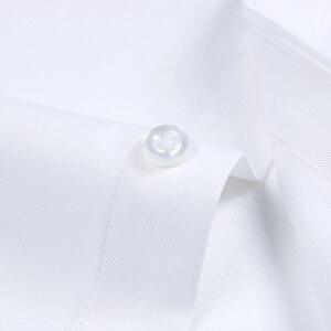 Image 5 - قميص رجالي طويل الاكمام مناسب بشكل قياسي قميص باتش واحد عالي الجودة مناسب للعمل الاجتماعي الابيض الرسمي قمصان مكتب