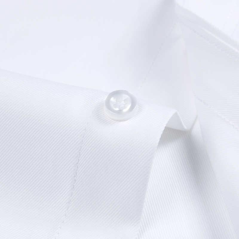男性の長袖標準フィット固体の基本的なドレスシャツパッチシングルポケット高品質フォーマル社会白作業オフィスシャツ