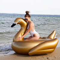 130cm Giant Gold Swan Pool Float For Adult Water Party Inflatable Toys Ride On Swimming Ring Air Mattress Beach Lounger boia