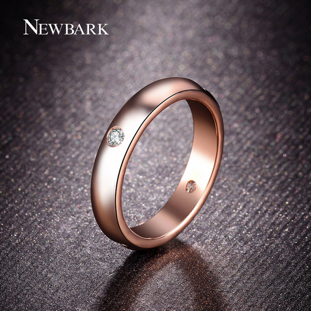 NEWBARK Rose Gold Plated Unisex Ring Fashion Simple Finger Rings Jewelry for Women and Men 4 pcs CZ Diamond Aneis Bague