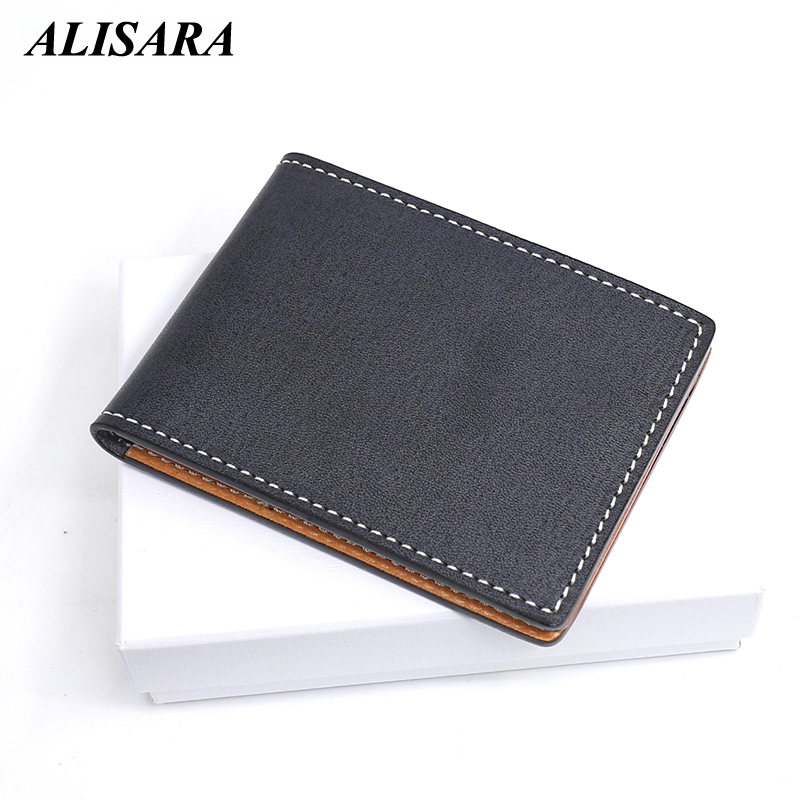 Alisara Credit Card Wallets Driver License Top Genuine Leather Card Case Men Mini Wallet Bus/ID Card Holders Small Purses Slim
