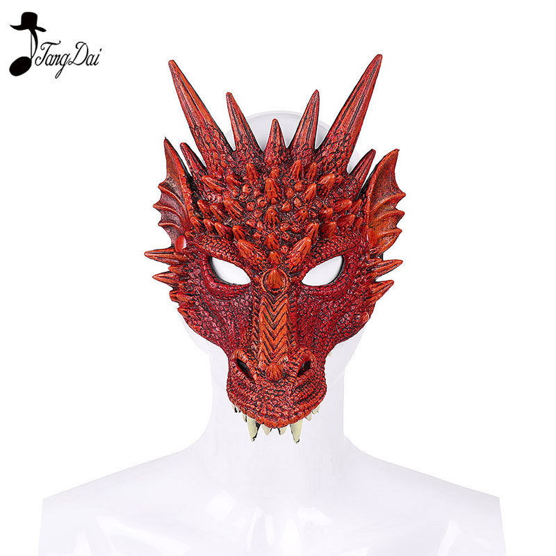 New Year Decoration Carnival Party Animal Costume Dragon Cosplay Masquerade 3D Face Mask Dinosaur  halloween costume