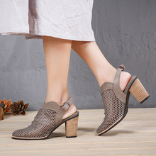 VALLU 2018 Women Leather Shoes Slingback Pumps Hollow Out Breathable High Heels Summer Buckle Block Heel Sandals