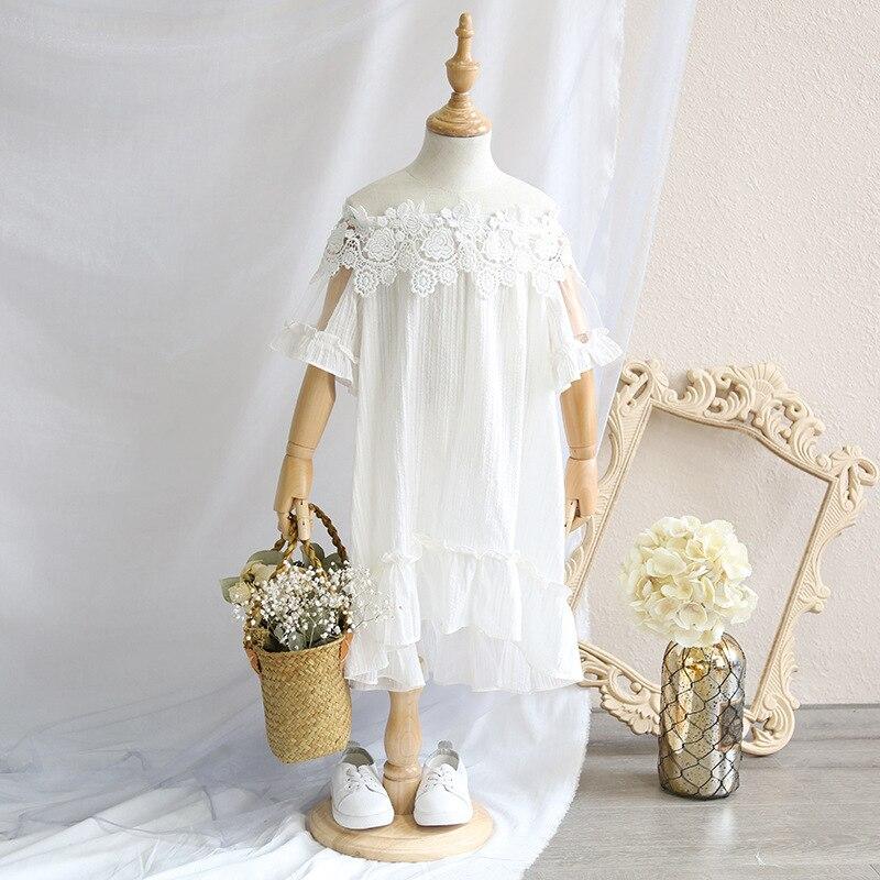Childrens dress 2018 Summer New Girls Large dress Sweet Lace stitching Word collar strapless cotton dress