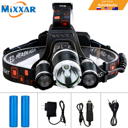 EZK20 T6 R5 LED Headlamp 13000LM 4 Mode Waterproof Hands-free Headlight Torch Flashlight for Biking Camping Hunting Fishing