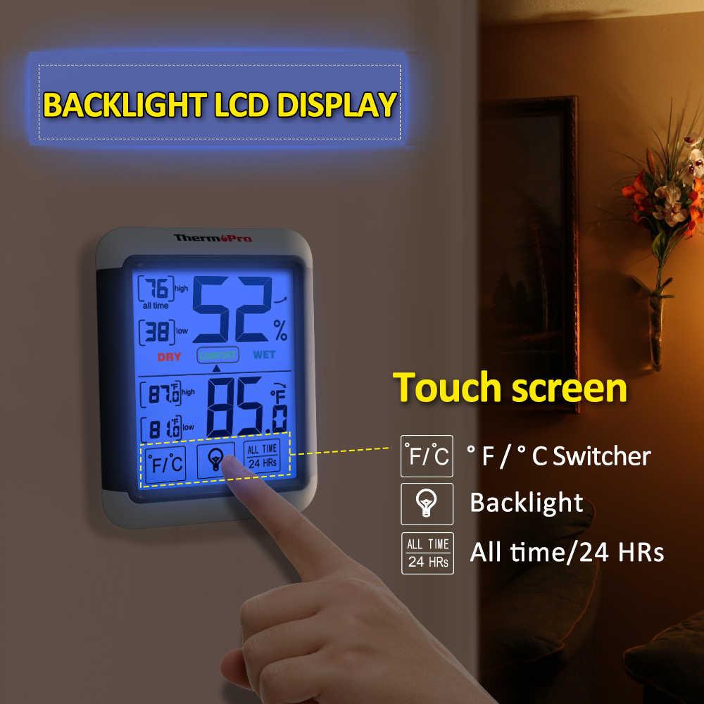376db14d1 ... ThermoPro TP-55 higrómetro Digital interior termómetro temperatura  humedad medidor con Jumbo pantalla táctil y ...