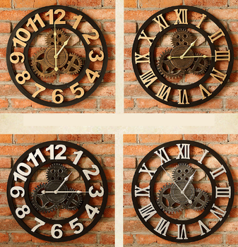 Retro gear wall clock wall decoration home creative watch living room wall decoration pendant wall background
