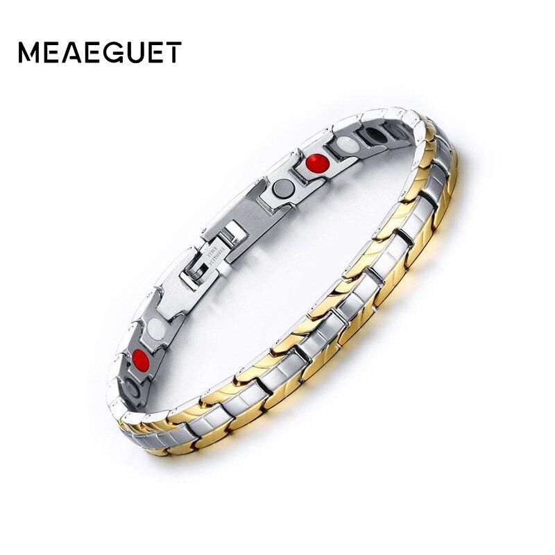 все цены на Meaeguet 7mm Wide Magnetic Therapy Magnetic Bracelet Gold-color Stainless Steel Power Bracelets For Women Adjustable Length онлайн