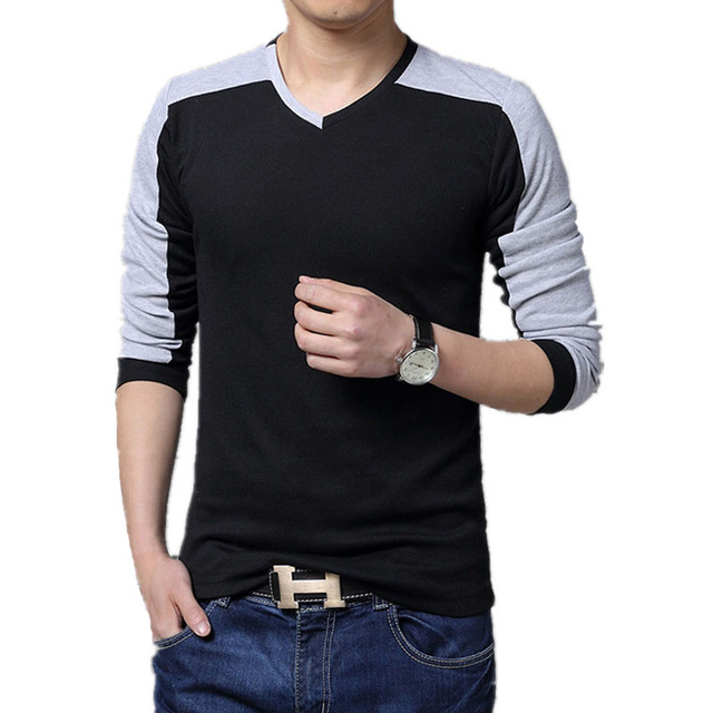 Fashion Stylish Men's Casual Shirts Slim Fit Long Sleeve T-Shirt  top tees men t shirt 2016 Patchwork Tshirt