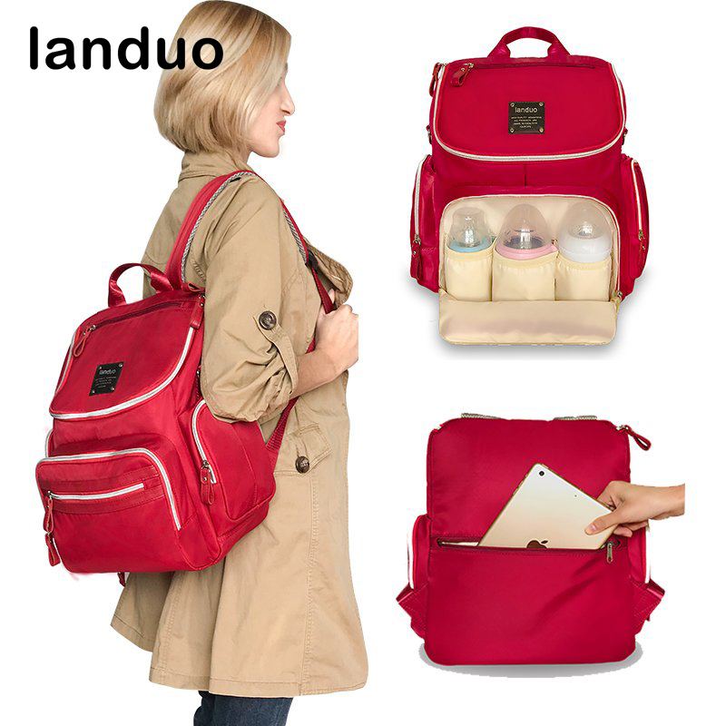 landuo LAND Diaper Bag Nursing Bag Fashion Mummy Maternity Nappy Bag Baby Stroller Bag Baby Care Waterproof Nylon Backpack все цены