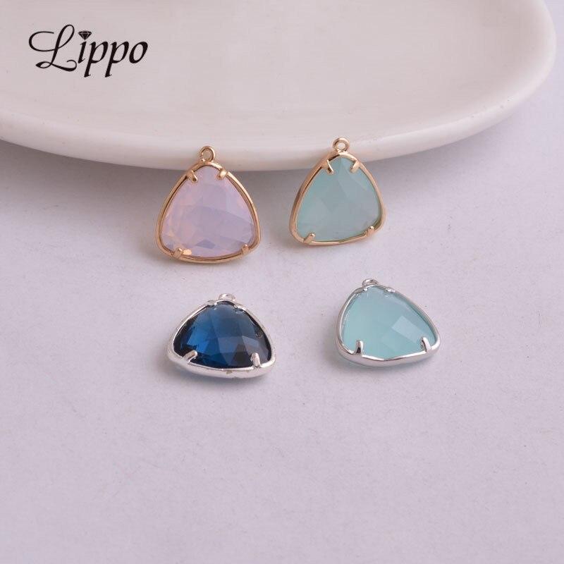 Nett 10 Stücke Kupfer Gold Gerahmte Glas Charme Anhänger Facettierten Perlen Charms Für Diy Schmuck Machen Armband & Ohrring