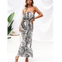 European and American Women's Long Leaf Dress with Sexy Breast Wrap