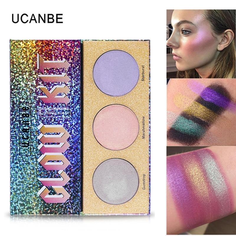 UCANBE Brand Glitter Highlighter Holographic Makeup Palette Shimmer Bronzer Highlight Eyeshadow Cosmetics Illuminator Glow Kit Тостер