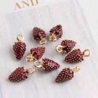 Wholesale 100PCS 8 16MM 3D DIY Jewelry Findings Cartoon Fruit Charms Fashion Necklace Pendants Gold Tone