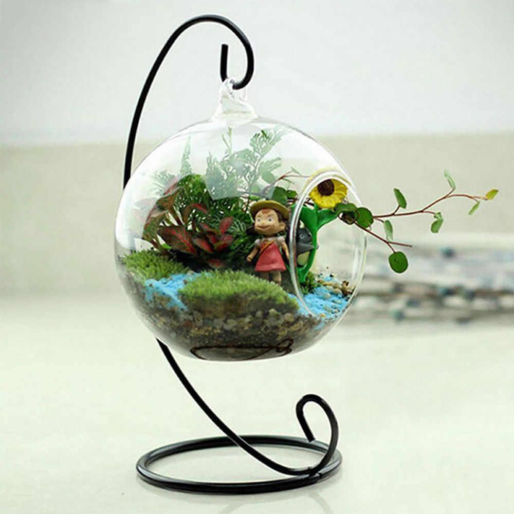 燭台ボールグローブ形状クリアガラス花瓶の花の植物容器飾りマイクロ風景 Diy の結婚式の家の装飾