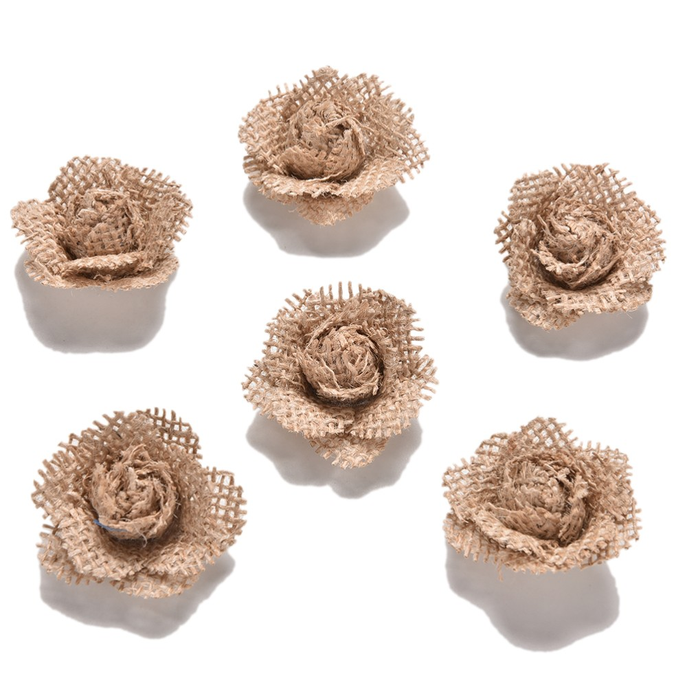 6X Vintage Natural Jute Hessian Flower Handmade Rose Burlap Wedding Party DecorH