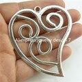 Free Shipping 14176 2PCS Alloy Antique Silver Tone Totem Large Love Heart Dangle Pendant Charm