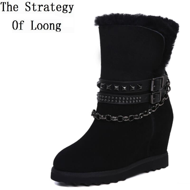 Women Winter Sheepskin Leather With Fur Plush Thick Warm Rivets Short Boots Genuine Leather Height Increasing Anti Wool Boots