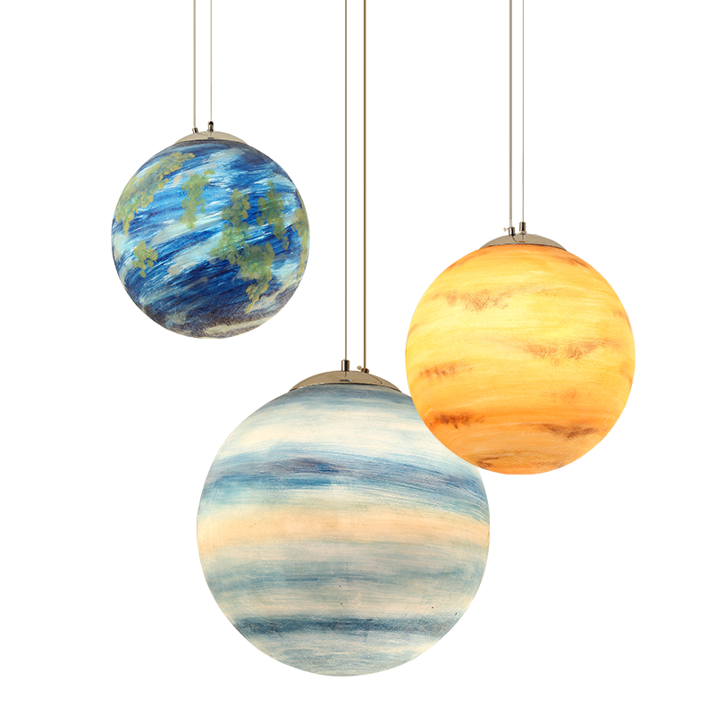 Nordic Creative universo planeta acrílico colgante luz Luna sol tierra Mars Uranus mercurio Júpiter Saturn Planet lámparas-in Luces colgantes from Luces e iluminación