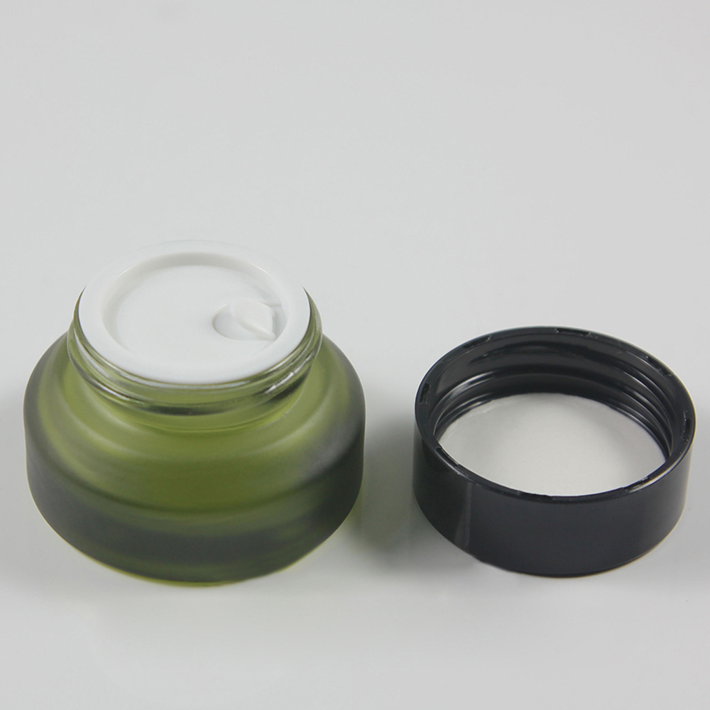 30pcs wholesale 15g olive green frost glass cream jar with black or silver aluminum lid empty