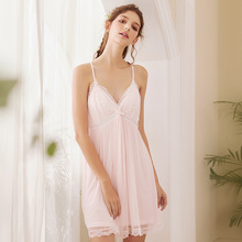 Wasteheart Women Fashion Pink Sexy Sleepwear Nightdress Lace Backless Nightwear Sleepshirts Luxury Nightgown Female Court Gown