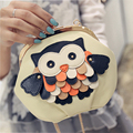 Discount Leather Shell Bags Women PU Mini Crossbody Bags Cartoon Owl Handbags Buckle Chain Bags Phone Bag Messenger Bag girls