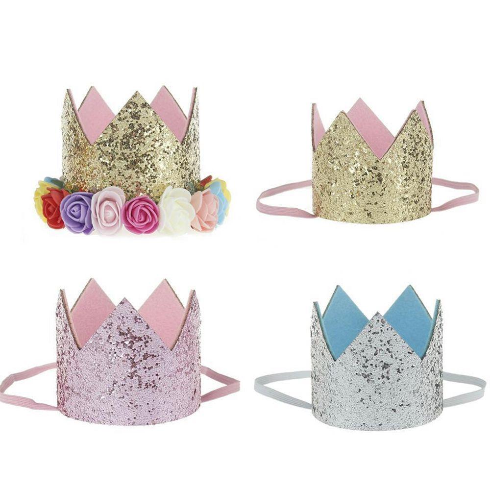 Artificial Delicate Mini Felt Glitter Crown With Flower