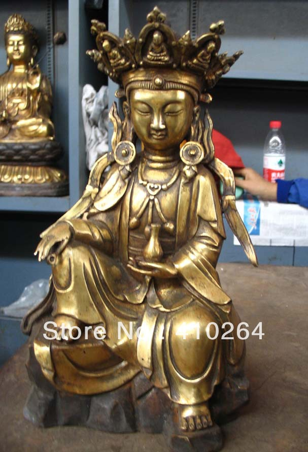beautiful 28 cm Tibet Buddhism collections bronze Plate with gold statue|bronze strainer|plate switch|bronze sword - title=