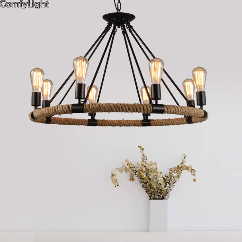 Loft Vintage Rural Pendant Lights Hemp Rope Bamboo Iron Cage Pendant Lamps Hand Knitted Lighting Fixtures Restaurant Coffee shop