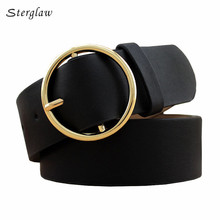 Fashion Classic round buckle Ladies wide belt Women's 2017 design high quality  female casual leather belts for jeans kemer F110