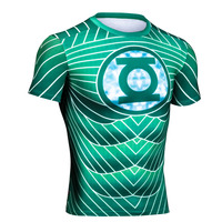 Men DC Comics Superhero Green Lantern Classic Logo T Shirt Sports Quick Dry Fitness Clothing Yoga