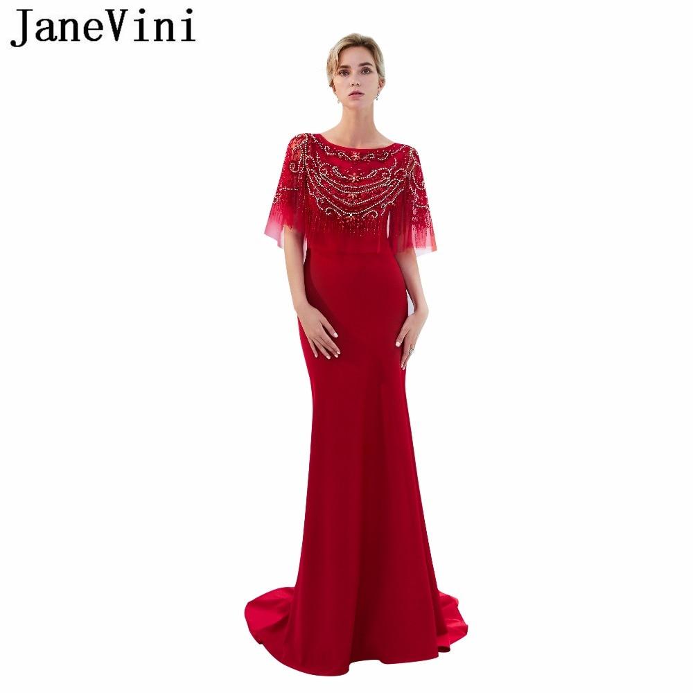 JaneVini Elegant Red Long   Bridesmaid     Dresses   Satin Scoop Neck Luxury Beaded Crystal Women Mermaid Formal Prom Gowns Sweep Train