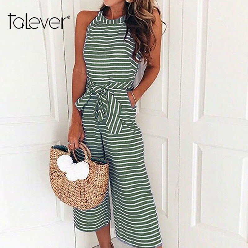 2018 Elegant Womens Fashion Striped Print Office Lady Jumpsuit Pants Casual Summer With Belt Wide Leg Long Jumpsuits Talever