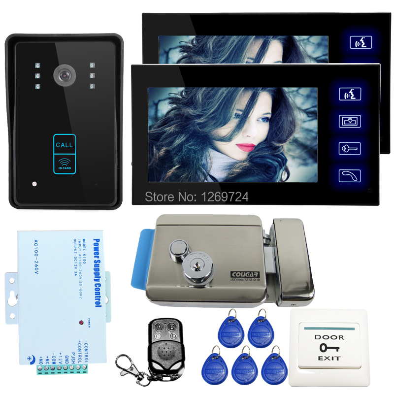 FREE SHIPPING 7 inch LCD Home Wired Video Door Phone Intercom System 2 Monitor RFID Access Door Camera + Electric Lock IN STOCK