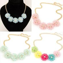 2015 Big Flower Choker Necklace Pink Blue Colorful Gold Chain Plant Charm Statement Necklaces&Pendant For Women Fashion Jewelry
