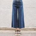 Бесплатная доставка 2017 Новых Ретро Уличные Брюки Старинные Высокой Талией Джинсы новые женские брюки Лодыжки длина брюки свободные ковбой брюки