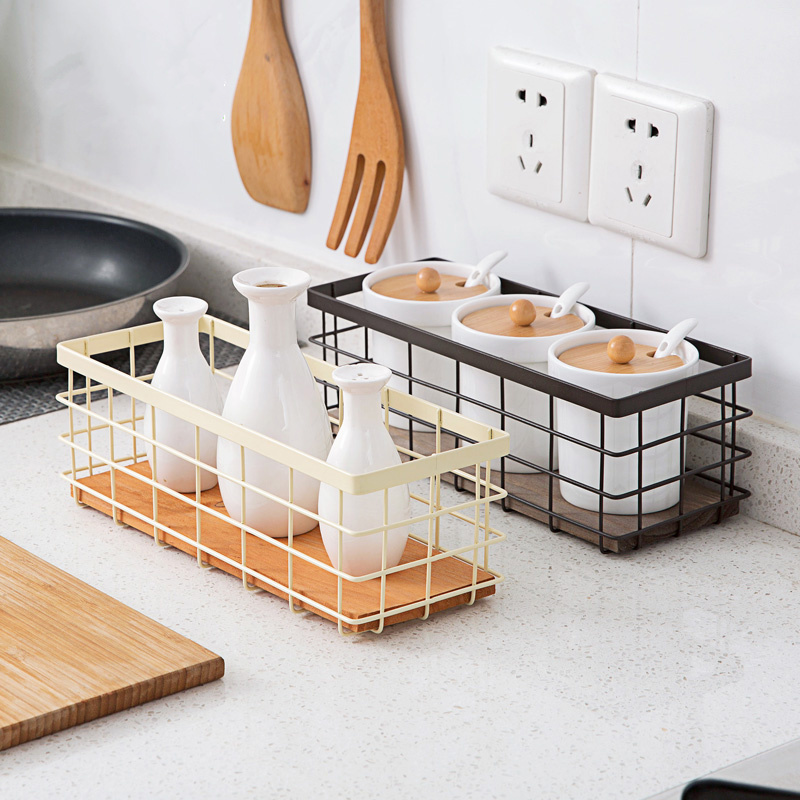 Practical iron desktop storage <font><b>basket</b></font> spice rack remote control cosmetics kitchen knife and fork spoon holder kitchen organizer