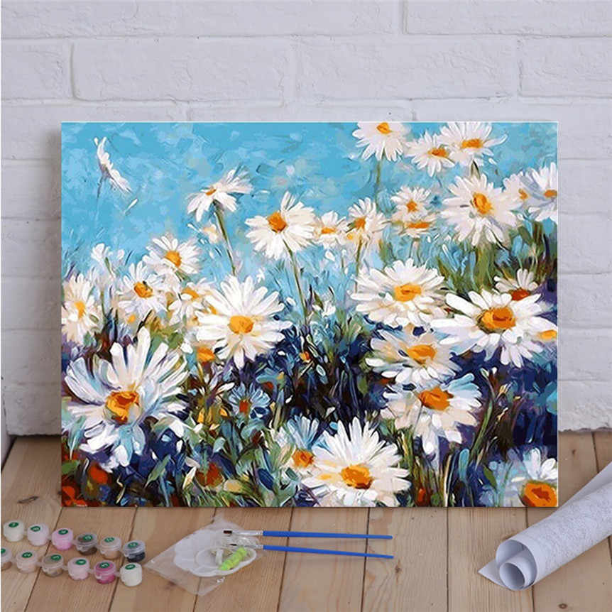 Chrysanthemi DIY Painting By Numbers HandPainted Oil Painting On Canvas For Living Room Office Home Decor Gift 806#