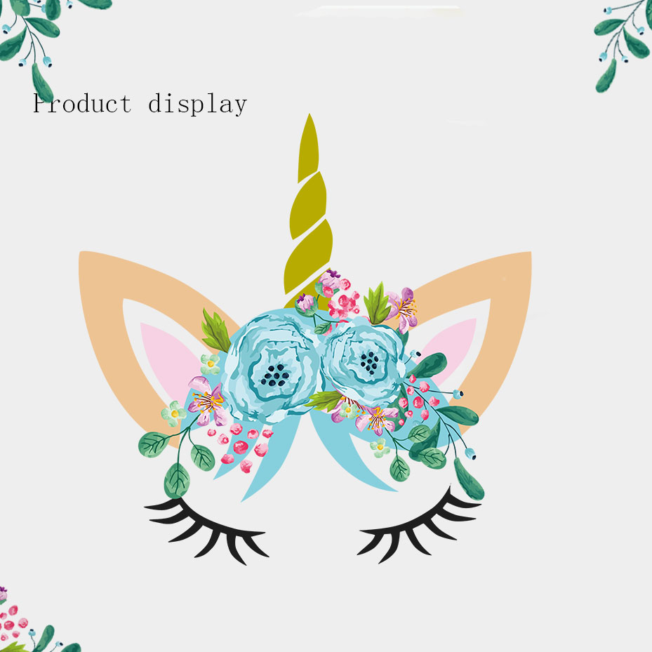 Beauty Unicorn Head Flower Color Wall Stickers For Bedroom Of Kids Gifts Decoration Art Decals Poster Wallpaper Home Decor