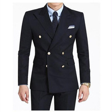 2017 Double-Breasted Side Vent Groom mens suit Tuxedo navy Blue Peaked Lapel Mens Wedding suits Dress Clothing (Jacket+Pants)