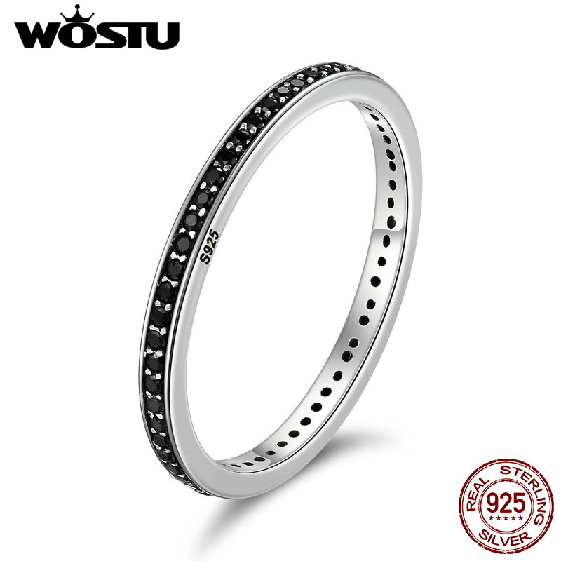 WOSTU Authentic 925 Sterling Silver Finger Stackable Rings With Black CZ For Women Fashion Jewelry Fine Gift CQR114 wostu new arrival real 925 sterling silver luminous glow rings for women authentic fine jewelry gift zbb7640
