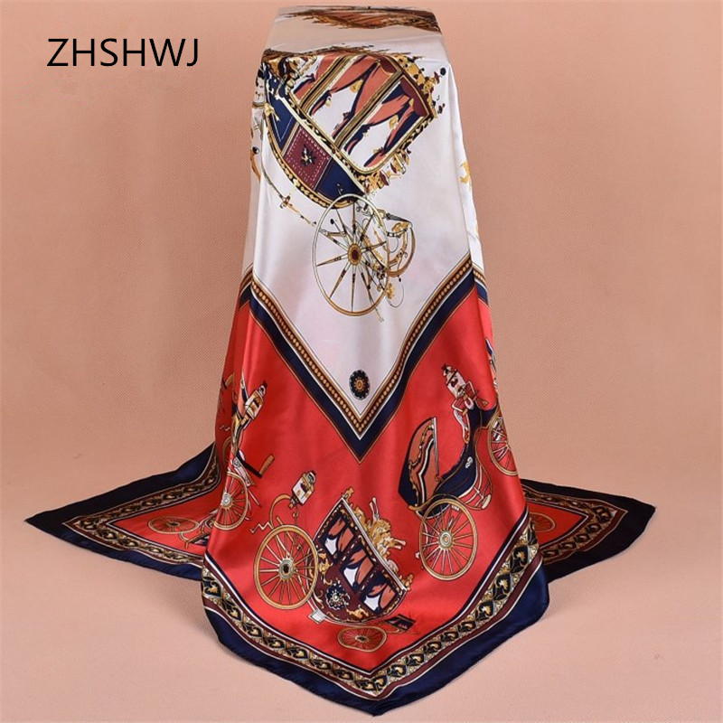 [ZHSHWJ]<font><b>90</b></font> * 90CM women's scarf carriage pattern fashion shawl luxury big square square scarf lady decoration Hijabsatin scarf image