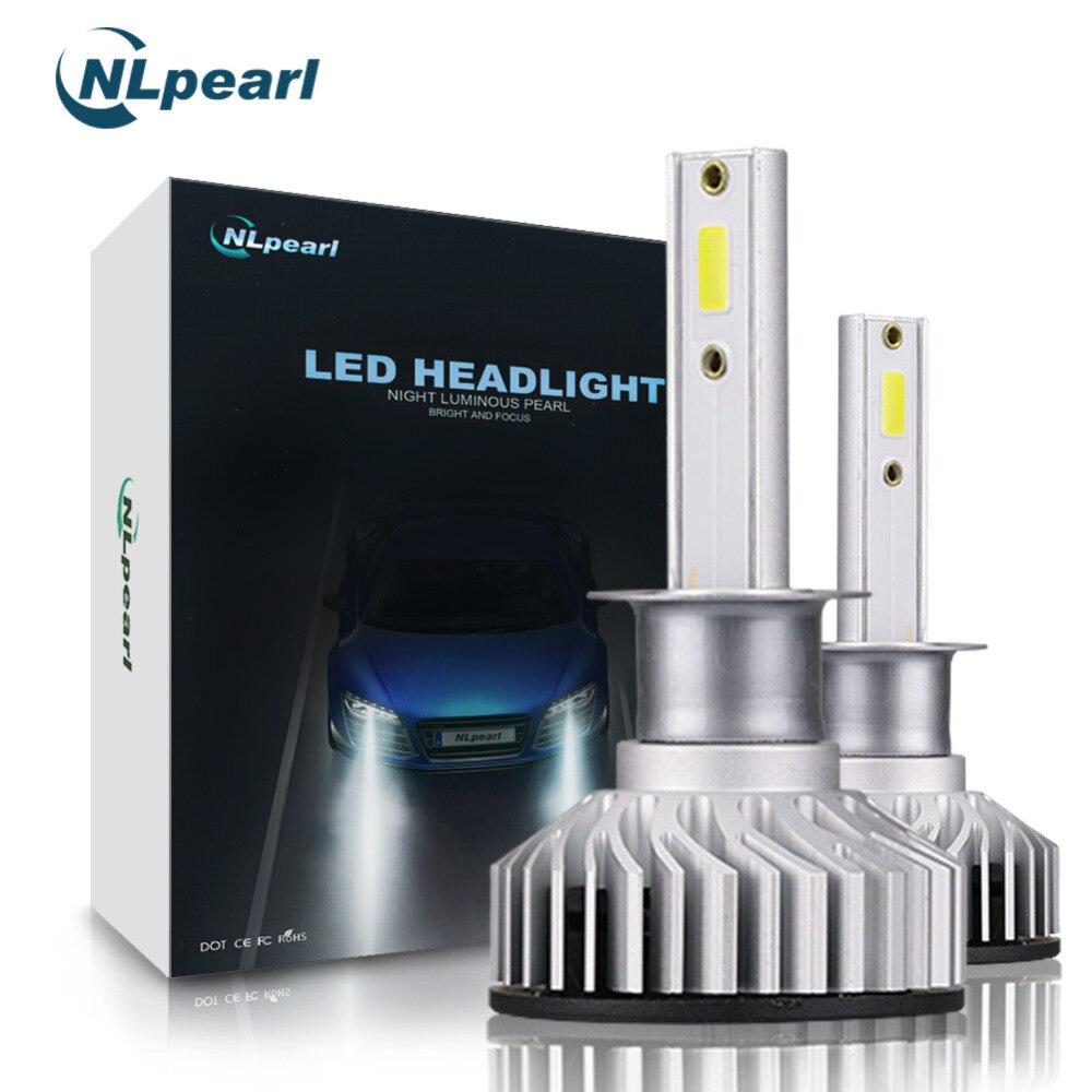 NLpearl COB Chips 2Pcs 6000k H1 LED Canbus Error Free High Quality H7 H11 9005 9006 H4 H1 Car Headlight Bulbs 10000LM/Pair 12V