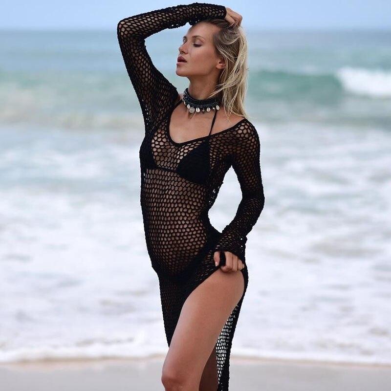 H80 amp S90 New 2019 Women Sexy Long Sleeve Swimsuit Ladies 39 Handmade Crochet Fish Net Bikini Beach Dress Cover Up Female Swimwear in Dresses from Women 39 s Clothing