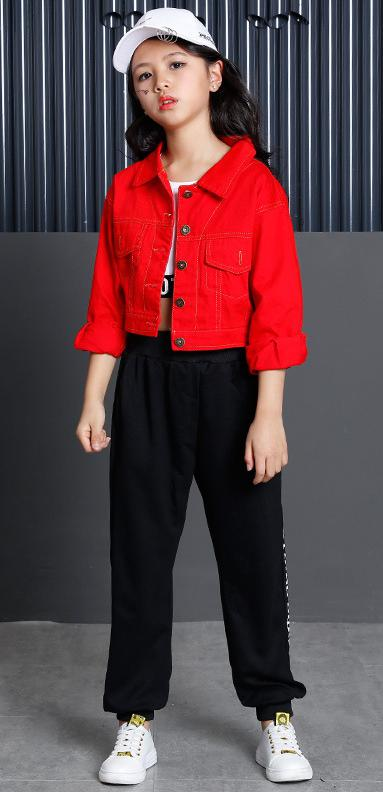 89e0bb9b2144 Teenage Girls Clothing Set 2018 Cotton Red Crop Jacket Top Pant Three  Pieces Sets For Kids 8 9 10 11 12 13 14 15 16 Years Old-in Clothing Sets  from Mother ...