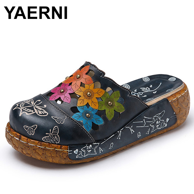 YAERNI 2018 Handmade Women Slippers Genuine Leather Closed Toes Flower Platform Women Shoes Slides E574