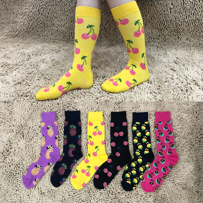 5 pair/lot Mens Funny Colorful Combed Cotton Socks Fruit Argyle style Dress Casual Crew Socks Happy Socks Wedding Gift P026